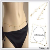 2014 New Arrival Body chain necklaces Gold Waist chain Sexy Body chain Body necklaces Beach Bikini Necklace