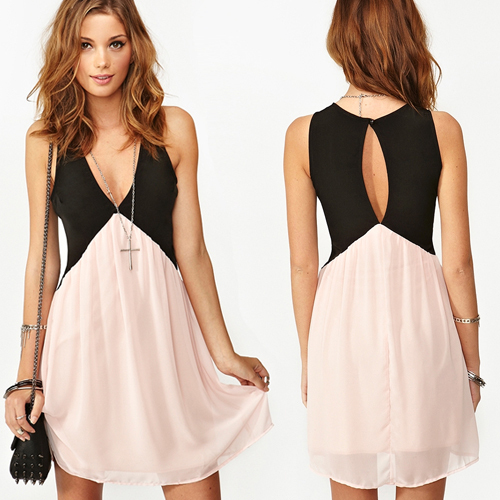 Online Cheap Cute Clothes Out Open Back Cute Chiffon