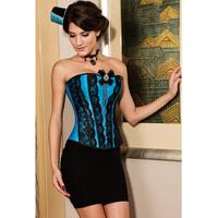 2014 New Summer Gothic Eyelash Overbust Corset Blue Ladies Corselet Bodysuit