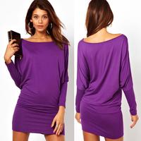 summer sexy dress Long-sleeve wide purple slim hip autumn sexy dress
