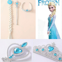 Momo - 10pcs/lot New Frozen Party Ornaments,Frozen Magic Wand + Rhinestone Crown + HairBand + Hairpiece Girls Wig ,7-20 come out