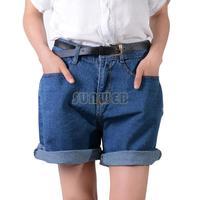 2014 Fashion European Style Women's Turn Up High Waist Loose Denim Shorts Jeans Shorts Ladies Short Pants With Belt B6 SV005016
