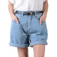 Free Shipping European Style Women's Turn Up High Waist Loose Denim Shorts Jeans Shorts Ladies Short Pants With Belt B6 SV005016