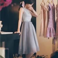 Free Shipping New 2014 Korean Summer Autumn Cute Elegant Chiffon Party Pleated Mid-Calf Dresses Women Casual Clothing S-XL