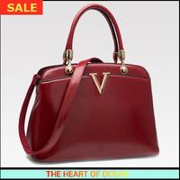 Free Shipping Handbag Women Pu Leather OL Blue Handbag V Letter Rivet Solid Messenger Bag Hard Handle Shoulder Bag B105