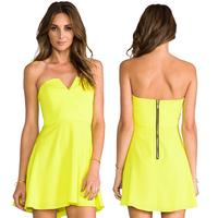 women dress summer solid color chiffon tube top bomb v back zipper women dress summer