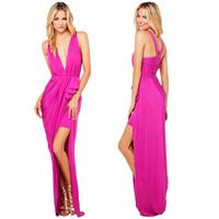 Purplish red deep V-neck spaghetti strap back  high waist pleated asymmetrical placketing long sweep sexy club dress
