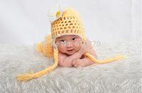 Free shipping newborn baby children girls child photography props Crochet Handmade wool modeling  Chrysanthemum sweater set 0-8M