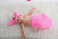 Free shipping newborn baby children girls child photography props Crochet Handmade wool modeling pink pig 0-8M
