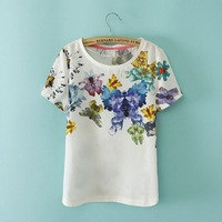 2014 Fashion Women Lady's NOVEL FLOWER BUTTERFLY print cotton o-neck tunic sexy Summer Casual Style Solid Color T-SHIRT