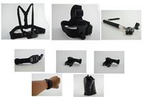 Gopro Accessories Black Chest Belt+WiFi Remote Wrist Belt+Head Strap+Helmet Strap+Bag+Handheld Monopod Mount for Gopro HD Hero 3