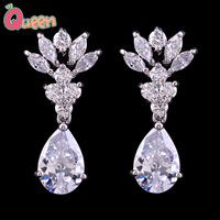 sparkling zircon earrings drop earring crystal zircon dangle  earrings bridal earrings