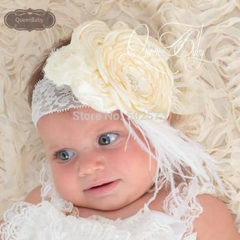Retail WIDE Кружево Headband with LayeКрасный Poppy Flowers Matching feather Baby ...
