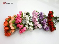 Wholesale New Design 144 pcs 10mm Mulberry Paper Flowers Small Bouquet Scrapbooking Candy Box Flower Free shipping PAM1