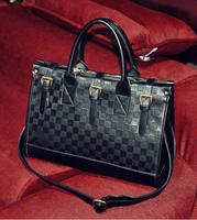 2014 women handbag trend flag plaid famous brand big embossed plaid shoulder messenger tote bag lady fashion vintage bolsas bag