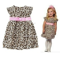 2014 New Retail Fashion summer baby girl's leopard print short-sleeve dress cute Children's dresses Kids Princess Party #2 20018