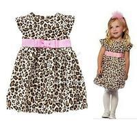 2014 New Retail Fashion summer baby girl's leopard print short-sleeve dress cute Children's dresses Kids Princess Party #2 20018