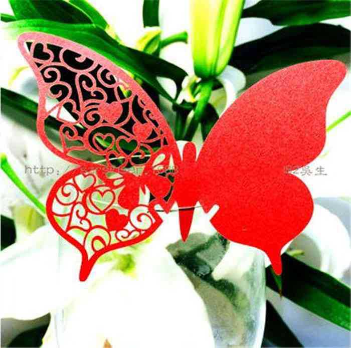 Butterfly Paper Place Cards Birthday Party Hollow Out Heart Shape RED WINE GLASS CARD(China (Mainland))