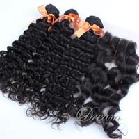 3 Part (4*4) Top Lace Closure Deep Wave Curly Hair Weft Brazilian Virgin Human Hair Natural Color Mix Length 4pcs/lot Free Ship