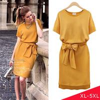 High Street Briefs Work Women Dresses 2014 Summer Yellow Dress With Belt
