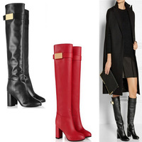 2014 Free shipping brand suede leather rain boots fashion knee high motorcycle boots high heels boots shoes woman