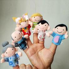 Encantador y animado dedo 6Pcs Familia Títeres Muñeca De Trapo bebé de juguetes educativos Mano Historia Kid Historia de bebé para la Educación PTSP regalo(China (Mainland))