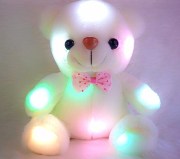 New Colorful luminous white Teddy Bear toys Dazzling Lights brinquedos girls conjunto menina Wedding Birthday Valentines Gift(China (Mainland))