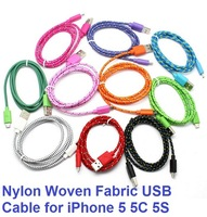 1000pcs Free shipping 6FT 2M Fabric Nylon Braided Woven Rope Sync USB Charger Data Cable Adapter Cord for iPhone 5 5S 5C iOS7.1