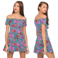 spring Neon digital print French slit neckline elastic plus size summer dresses
