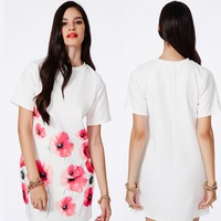 hot women 2014 new dresses fashion trend of the paragraph ink poppy flower unique print women dress