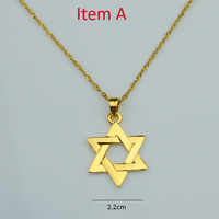 Hexagram Pendants Necklaces Women,Magen David Pendant Chain Gold Plated Jewelry Men,Tantrism,Jewish Star,Solomon seal #K610044