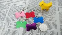 Free Shipping 50pcs/lot Creative cute bone Dog Tags Aluminum Customized Pet ID Ball Chains 3cm S Size