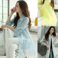 2014 summer new Korean Women lace cardigan jacket coat women long section of sunscreen NTZ0102