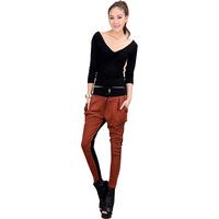 Fashion Casual Slim Metal Hand Contrast Color Patchwork Haren Pants for Women