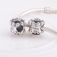 925 Sterling Silver Birthday Cake Bead Fits European Style Jewelry Charm Bracelets & Necklaces