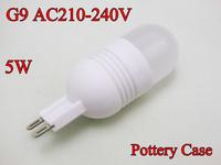 Super Bright High Quality, 4pcs per lot G9 led 220V, 5w 3014SMD Pottery Case G9 led bulb lamp Free Shipping