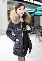 New 2014 jacket winter coat thicken Slim female raccoon fur collar and long coat women parka winter coat plus size S-4XL L