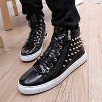 Free shipping men's high shoes rivets male boots shoes spike studded  men fashion sneakers  shoes