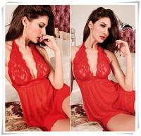 Hot 2014 Handneck Red Lace Sexy Lingerie Fantasia Erotil Pajamas Underwear Costumes Sleepwear Dress Set For Women