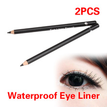 2 Pieces Black Eye Liner Smooth Waterproof Cosmetic Makeup Eyeliner Pencil F#OS
