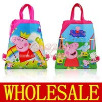 Hot sale & Free shipping,12Pcs Peppa Pig Non-woven fabrics School Cartoon Drawstring Backpack bags,Party Favors,Kid's Best Gift