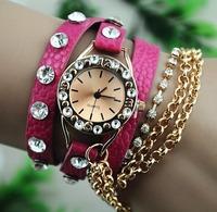 2014 New Fashion Women Rhinestone Watches Relogios Feminino Quartz Watch Luxury Wrist Band Leather Strap Relogios Feminino Marca