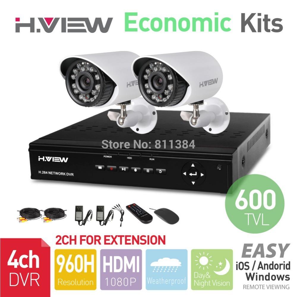 4ch 960h hdmi. dvrmax 2 pcs 600 tvl ir extérieur caméra de surveillance'intempéries 24 leds. de sécurité à domicile système de surveillance kits sans disque dur