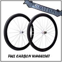 carbon bike 700c wheel Road bicycle 50mm Clincher glossy carbon wheelset carbon fiber+Novatec 271 Hub free shipping