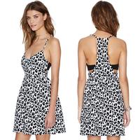sexy club dress Black leopard print deep V-neck spaghetti strap leopard print colorant match slim sexy club dress