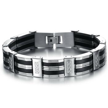 Personality Men Bracelet Stainless Steel & Silicone Bracelets Men Jewelry Accessories ...