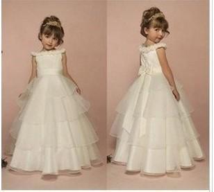 Retail !2014 new Dress Girls Ball Gown Princess Kids Formal Dresses porcelain children's wedding birthday dress performance wear(China (Mainland))