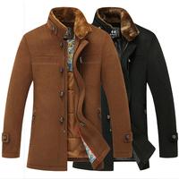 New Casual Men Woolen Coat Rabbit Fur Collar 2014 Fashion Men's Desigual Wool Jacket Work Wear Winter Thick Outdoor Padded Coats