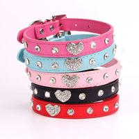 20pcs/lot Small Pet collar Peach heart diamond dog collars Cat Puppy necklace BJ-017