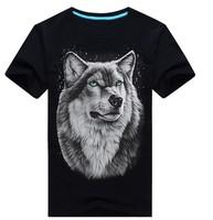 NEW!!!Men's short sleeve T-shirt Leisure comfortable men's  T-shirt Round collar curlicue  three-dimensional animal print a Wolf